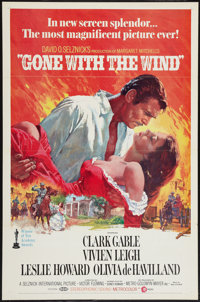 """Gone with the Wind (MGM, R-1974). One Sheet (27"""" X 41"""") Flat Folded. Academy Award Winners"""