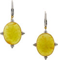 Estate Jewelry:Earrings, Yellow Opal, Diamond, Gold Earrings. ...
