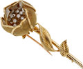 Estate Jewelry:Brooches - Pins, Diamond, Gold Brooch, Merrin, French. ...