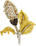 Estate Jewelry:Brooches - Pins, Diamond, Sapphire, Enamel, Gold Brooch. ...