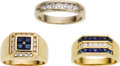 Estate Jewelry:Rings, Gentleman's Diamond, Sapphire, Gold Rings. ...