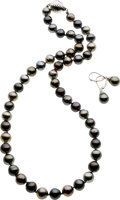 Estate Jewelry:Suites, Black South Sea Cultured Pearl, White Gold Suite. ...