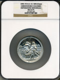 Expositions and Fairs, 1893 World's Columbian Exposition, Christoforo Columbo EsposizioneUniversale MS64 Prooflike NGC. Eglit-37. White metal, 65m...