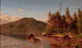American:Hudson River School, ALEXANDER HELWIG WYANT (American, 1836-1892). AdirondackLake , 1868-70. Oil on canvas. 12 x 20 inches (30.5 x 50.8cm)...