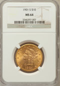 Liberty Eagles: , 1901-S $10 MS64 NGC NGC Census: (3748/1503). PCGS Population(3437/1098). Mintage: 2,812,750. Numismedia Wsl. Price for pro...