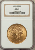 Liberty Double Eagles: , 1906-S $20 MS63 NGC NGC Census: (632/108). PCGS Population(1078/264). Mintage: 2,065,750. Numismedia Wsl. Price for proble...