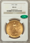 Saint-Gaudens Double Eagles: , 1912 $20 MS63 NGC CAC. NGC Census: (335/212). PCGS Population(1095/451). Mintage: 149,700. Numismedia Wsl. Price for probl...