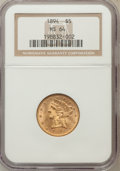 Liberty Half Eagles: , 1894 $5 MS64 NGC. NGC Census: (97/16). PCGS Population (35/3).Mintage: 957,800. Numismedia Wsl. Price for problem free NGC...