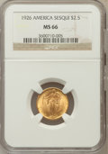 Commemorative Gold: , 1926 $2 1/2 Sesquicentennial MS66 NGC NGC Census: (84/3). PCGSPopulation (138/0). Mintage: 46,019. Numismedia Wsl. Price f...