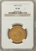 Liberty Eagles: , 1843-O $10 VF30 NGC NGC Census: (6/364). PCGS Population (10/196).Mintage: 175,162. Numismedia Wsl. Price for problem free...