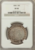 Early Half Dollars, 1806 50C Pointed 6, Stem XF45 NGC. NGC Census: (167/1023). PCGSPopulation (84/218). Mintage: 839,576. Numismedia Wsl. Pric...