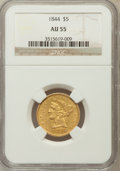 Liberty Half Eagles: , 1844 $5 AU55 NGC NGC Census: (68/129). PCGS Population (20/40).Mintage: 340,330. Numismedia Wsl. Price for problem free NG...