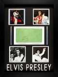 Music Memorabilia:Autographs and Signed Items, Elvis Presley Autographed Green Las Vegas Hilton Cloth Napkin inElaborate Shadowbox Wall Display (1972)....