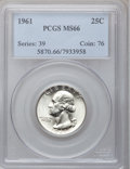 Washington Quarters: , 1961 25C MS66 PCGS. PCGS Population (453/3). NGC Census: (442/26).Mintage: 37,000,000. Numismedia Wsl. Price for problem f...
