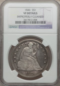 Seated Dollars, 1846 $1 -- Improperly Cleaned -- NGC Details. VF. NGC Census:(4/380). PCGS Population (7/509). Mintage: 110,600. Numismedi...