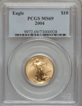 Modern Bullion Coins, 2004 G$10 Quarter-Ounce Gold Eagle MS69 PCGS. PCGS Population(14044/420). NGC Census: (2329/1238). Numismedia Wsl. Price ...