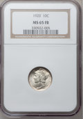 Mercury Dimes: , 1920 10C MS65 Full Bands NGC. NGC Census: (108/46). PCGS Population(205/102). Mintage: 59,030,000. Numismedia Wsl. Price f...