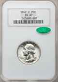 Washington Quarters: , 1942-S 25C MS67 NGC. CAC. NGC Census: (59/0). PCGS Population(30/1). Mintage: 19,384,000. Numismedia Wsl. Price for proble...