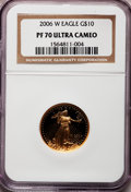 Modern Bullion Coins, 2006-W G$10 Quarter-Ounce Gold Eagle PR70 Ultra Cameo NGC NGCCensus: (0). PCGS Population (279). Numismedia Wsl. Price fo...