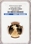 Modern Bullion Coins, 2010-W $25 Half-Ounce Gold Eagle, Early Releases PR70 Ultra CameoNGC. NGC Census: (0). PCGS Population (339). (#502744)...