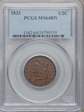 Half Cents: , 1833 1/2 C MS64 Brown PCGS. PCGS Population (58/25). NGC Census:(76/43). Mintage: 120,000. Numismedia Wsl. Price for probl...