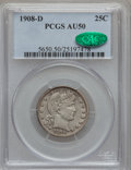 Barber Quarters: , 1908-D 25C AU50 PCGS. CAC. PCGS Population (9/252). NGC Census:(5/171). Mintage: 5,788,000. Numismedia Wsl. Price for prob...
