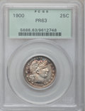 Proof Barber Quarters: , 1900 25C PR63 PCGS. PCGS Population (54/109). NGC Census: (28/167). Mintage: 912. Numismedia Wsl. Price for problem free NG...
