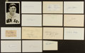 Baseball Collectibles:Others, Baseball Greats Signed Index Cards and Cut Signatures Lot of 14....