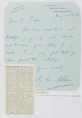 Autographs:Authors, George Cyril Allen (1900-?, British Professor of PoliticalEconomy). Autograph Letter Signed. Very good....
