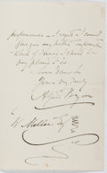 Autographs:Artists, Alfred Bryan (1852-1899, British Illustrator). Autograph Letter Signed. Envelope included. Very good....