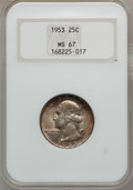 Washington Quarters: , 1953 25C MS67 NGC. NGC Census: (85/1). PCGS Population (36/0).Mintage: 18,500,000. Numismedia Wsl. Price for problem free ...