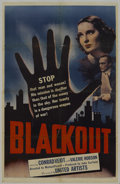 "Movie Posters:Adventure, Blackout (United Artists, 1940). One Sheet (27"" X 41""). Adventure.Starring Conrad Veidt, Valerie Hobson, Hay Petrie and Jos..."