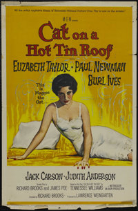 "Cat on a Hot Tin Roof (MGM, 1958). One Sheet (27"" X 41""). Drama. Starring Paul Newman, Elizabeth Taylor, Burl..."