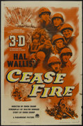 "Movie Posters:War, Cease Fire! (Paramount, 1953). One Sheet (27"" X 41""). WarDocumentary. Directed by Owen Crump. Three 2-inch tears in rights..."