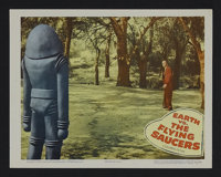 """Earth vs. the Flying Saucers (Columbia, 1956). Lobby Card (11"""" X 14""""). Science Fiction. Starring Hugh Marlowe..."""