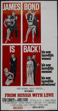 "From Russia With Love (United Artists, 1963). Three Sheet (41"" X 81""). Action. Starring Sean Connery, Desmond..."