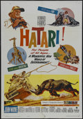 "Movie Posters:Adventure, Hatari! (Paramount, 1962). One Sheet (27"" X 41""). Adventure.Starring John Wayne, Hardy Krüger, Elsa Martinelli and Red Butt..."