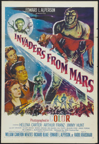 "Invaders From Mars (20th Century Fox, R-1955). One Sheet (27"" X 41"") Tri-folded. The science-fiction, red-scar..."