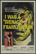 """Movie Posters:Horror, I Was a Teenage Frankenstein (American International, 1957). One Sheet (27"""" X 41""""). Horror. Starring Whit Bissell, Phyllis C..."""
