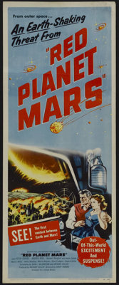 """Red Planet Mars (United Artists, 1952). Insert (14"""" X 36""""). One of the most intelligent sci-fi films of the 19..."""