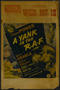 """Movie Posters:War, A Yank in the R.A.F. (20th Century Fox, 1941). Window Card (14"""" X22""""). War/Romance. Starring Tyrone Power, Betty Grable and..."""