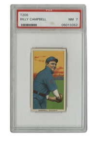 1909-11 T206 Billy Campbell El Principe de Gales Back PSA NM 7. Another entry in the procession of Near Mint T206 gems t...