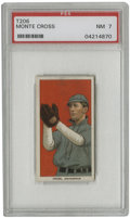 Baseball Cards:Singles (Pre-1930), 1909-11 T206 Monte Cross PSA NM 7. Steady Philly Athletics shortstop of the early 1900s, Monte Cross is pictured here while...