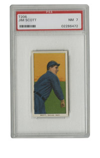 """1909-11 T206 Jim Scott PSA NM 7. The White Sox hurler known a """"Death Valley Jim"""" is the subject of this Near M..."""