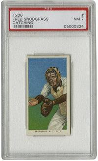 """1909-11 T206 Fred Snodgrass Catching PSA NM 7. The """"Catching"""" variant of Fred Snodgrass' two entries in the ha..."""