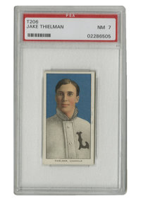 1909-11 T206 Jake Theilman PSA NM 7. Strong example of the minor league cards from the famed T206 tobacco issue. Jake Th...
