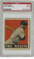 Baseball Cards:Singles (1940-1949), 1948 Leaf Phil Rizzuto #11 PSA VG 3. Hall of Fame shortstop and oldest living member of Cooperstown, Phil Rizzuto is the su...