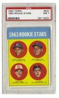 Baseball Cards:Singles (1960-1969), 1963 Topps Pete Rose Rookie #537 PSA NM 7. High-grade 1963 Rookie Stars card features, most notably, the first Topps entry ...