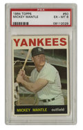 Baseball Cards:Singles (1960-1969), 1964 Topps Mickey Mantle #50 PSA EX-MT 6. Intimidating as he was, with his eyes squinted and his forearms tense and sculpte...