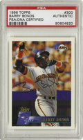 Autographs:Sports Cards, 1996 Topps Barry Bonds #300 Signed Card, PSA-Authentic. Perfect signature from the man so fervently chasing down Hank Aaron...